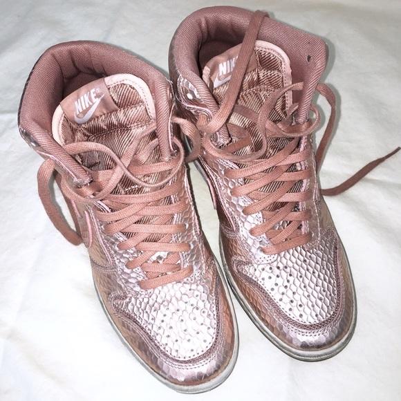 9f16bb2e63547f NIKE Dunk Sky Hi Rose Gold Pink Wedge Size 5.5. M 5c1b2a749fe486b0adb87637